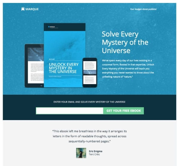 Squeeze page per blog